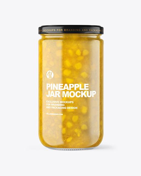 Clear Glass Jar with Pineapple jam Mockup