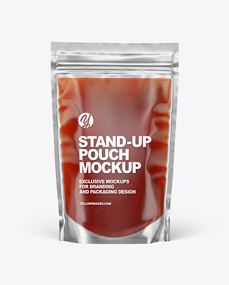 Clear Plastic Pouch w/ Red Sauce Mockup