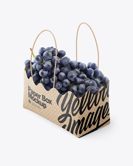 Kraft Paper Basket with Blue Grapes Mockup