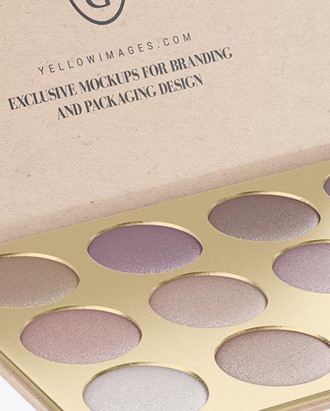 Eyeshadow Palette with Kraft Paper Box Mockup
