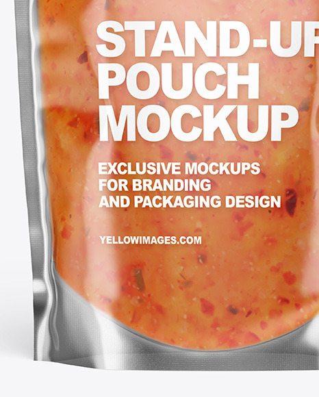 Clear Plastic Pouch w/ Sweet Chili Thai Sauce Mockup