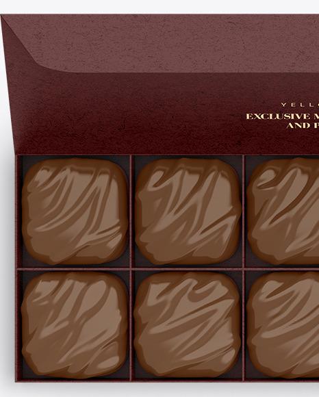 Kraft Paper Box of Chocolate Sweets Mockup