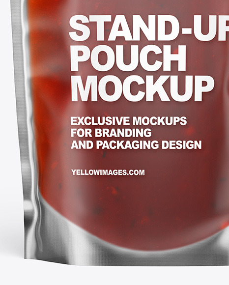 Frosted Plastic Pouch w/ Red Sauce Mockup