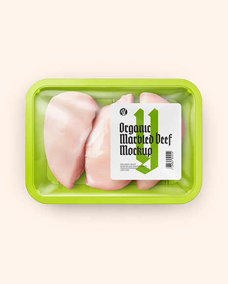 Plastic Tray With Chiken Fillet Mockup