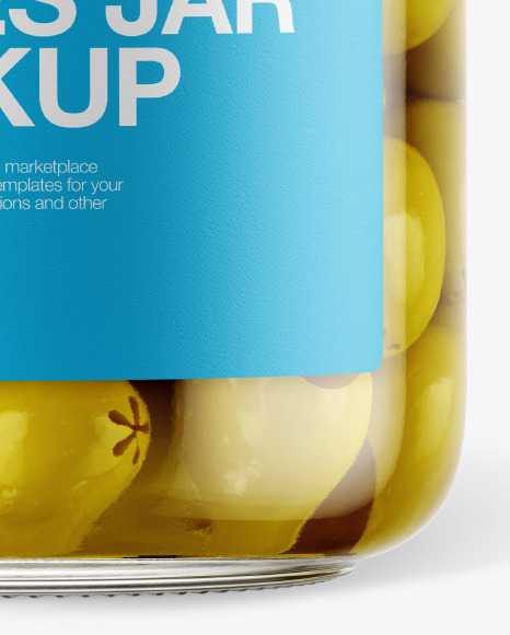 Glass Green Olives Jar with Paper Cap Mockup