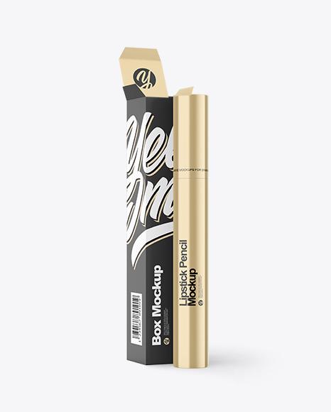 Metallic Lipstick Pencil with Box Mockup