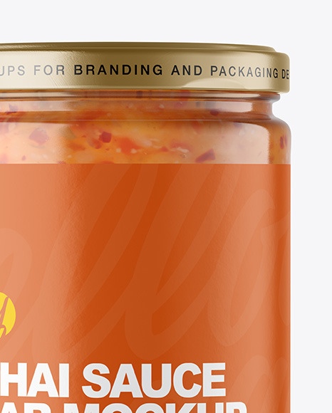 Clear Glass Jar with Sweet Chili Thai Sauce Mockup