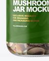 Clear Glass Jar with Marinated Mixed Mushrooms Mockup