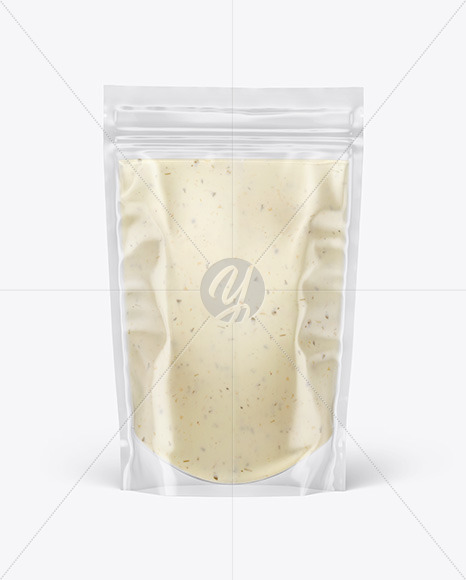 Clear Plastic Pouch w/ Tar Tar Sauce Mockup