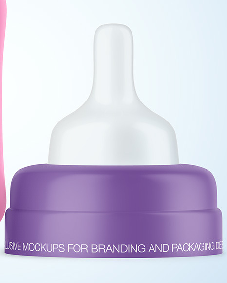 Matte Baby Bottle with Opened Cap Mockup