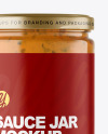 Clear Glass Jar with Chipotle Sauce Mockup