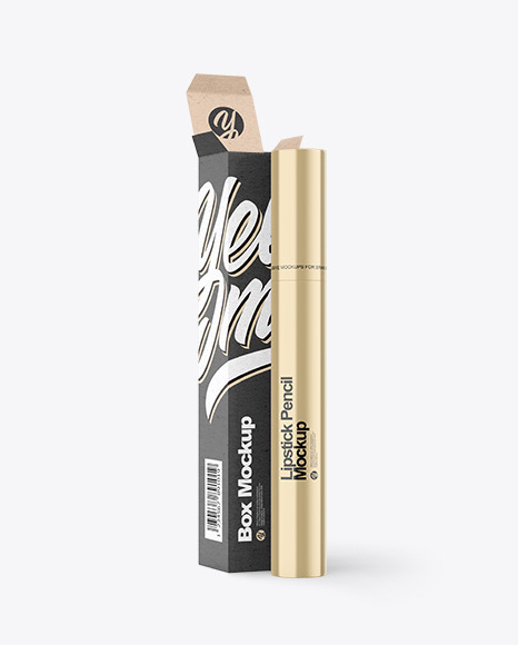 Metallic Lipstick Pencil w/ Kraft Paper Box Mockup
