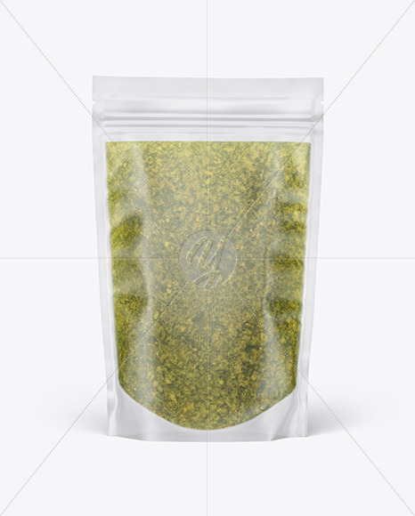 Frosted Plastic Pouch w/ Pesto Sauce Mockup