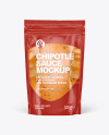 Clear Plastic Pouch w/ Chipotle Sauce Mockup