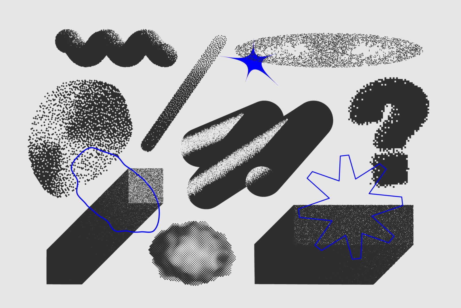 129 Vector Halftone Bitmap Shapes