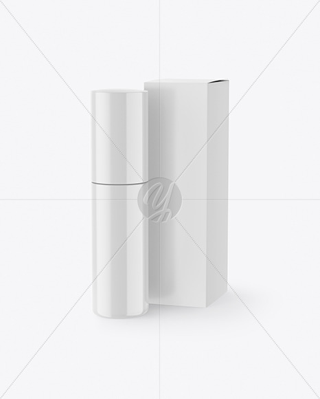 Glossy Cosmetic Bottle with Paper Box Mockup