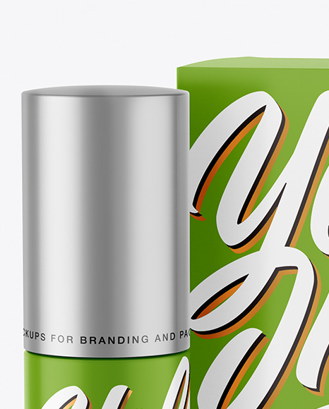 Matte Cosmetic Bottle with Paper Box Mockup