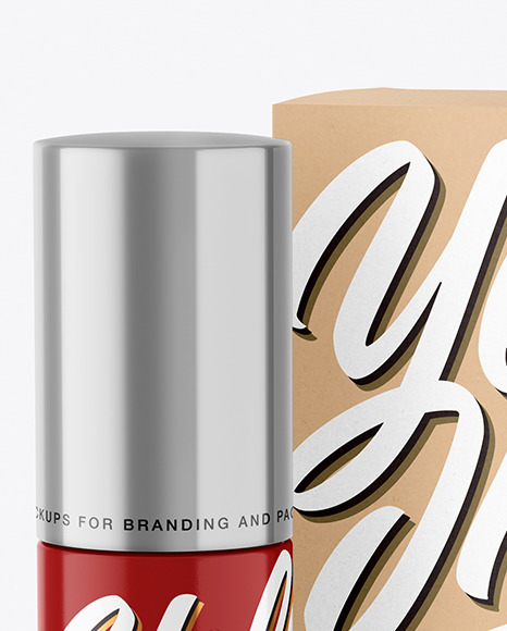 Glossy Cosmetic Bottle with Kraft Paper Box Mockup