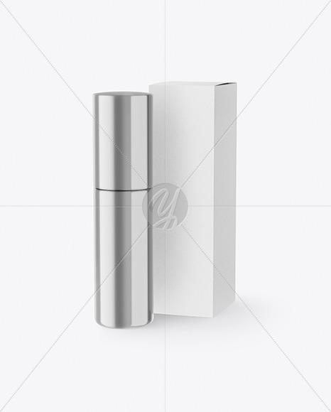 Metallic Cosmetic Bottle with Kraft Paper Box Mockup