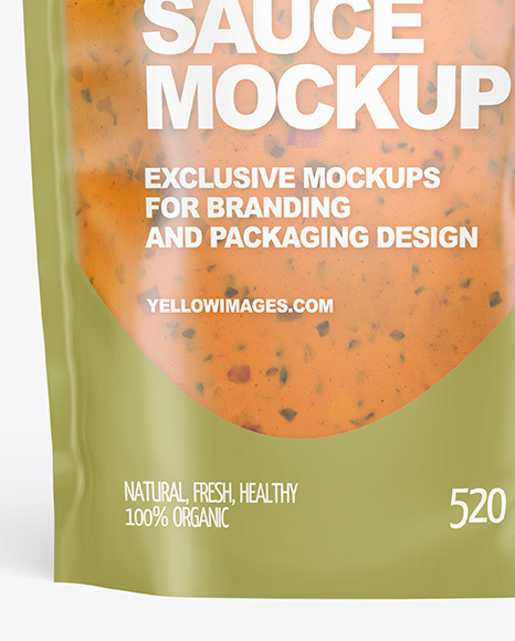 Frosted Plastic Pouch w/ Chipotle Sauce Mockup