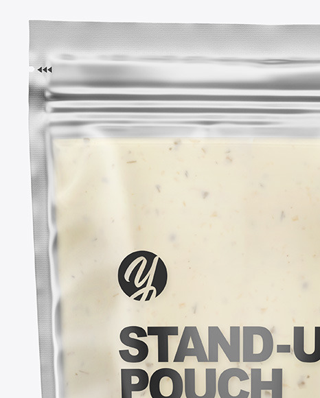 Frosted Plastic Pouch w/ Tar Tar Sauce Mockup
