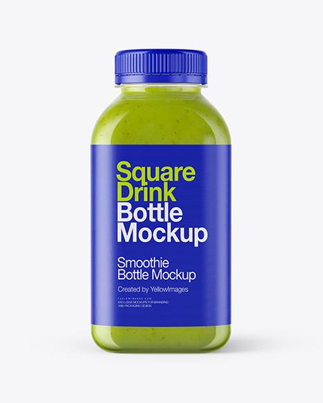 Square Green Smoothie Bottle Mockup