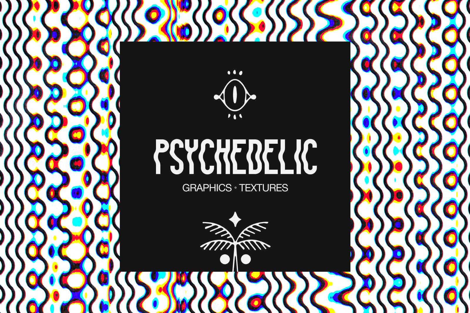 Psychedelic Symbols and Glitched Textures. Magic Surreal Graphics