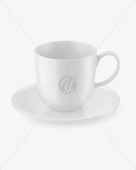 Matte Coffee Cup w/ Plate Mockup