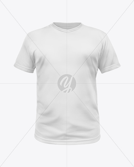 T-Shirt with V-neck Mockup - Front View