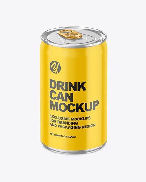 150ml Metallic Drink Can w/ Glossy Finish Mockup