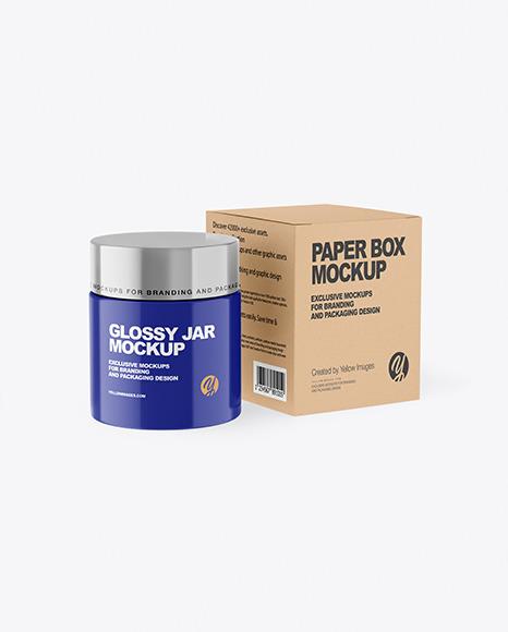 Glossy Cosmetic Jar with Kraft Paper Box Mockup