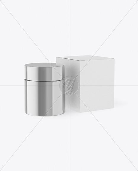 Metallic Cosmetic Jar with Kraft Paper Box Mockup