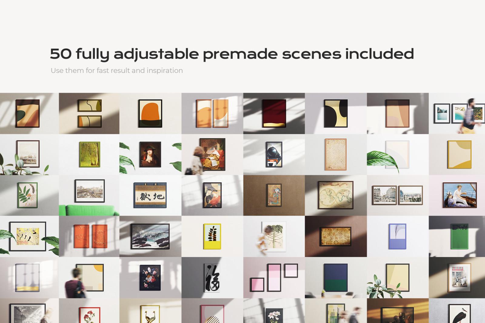 50 classic frame mockup bundle creator kit