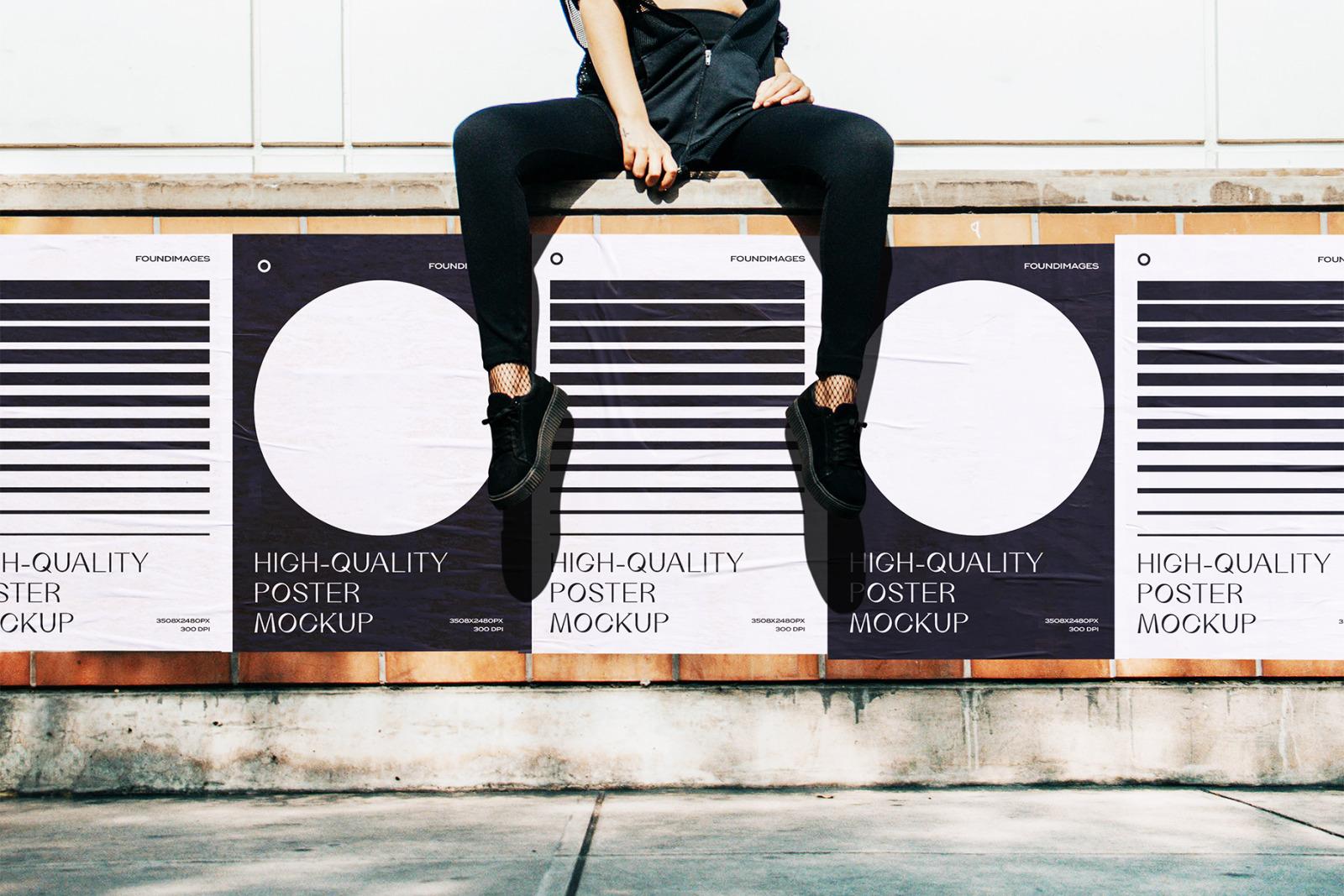 34 poster mockup bundle glued vol.3
