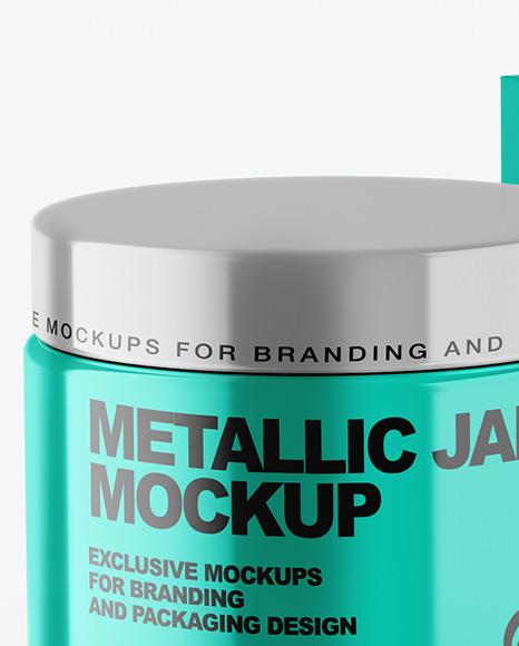 Metallic Cosmetic Jar with Paper Box Mockup
