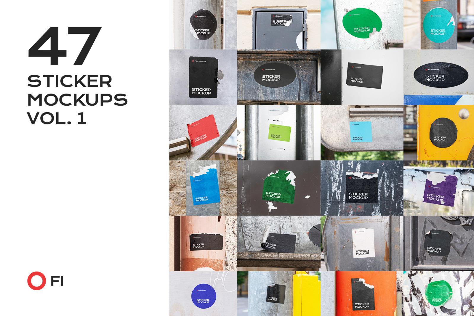 47 sticker mockup template bundle vol 1