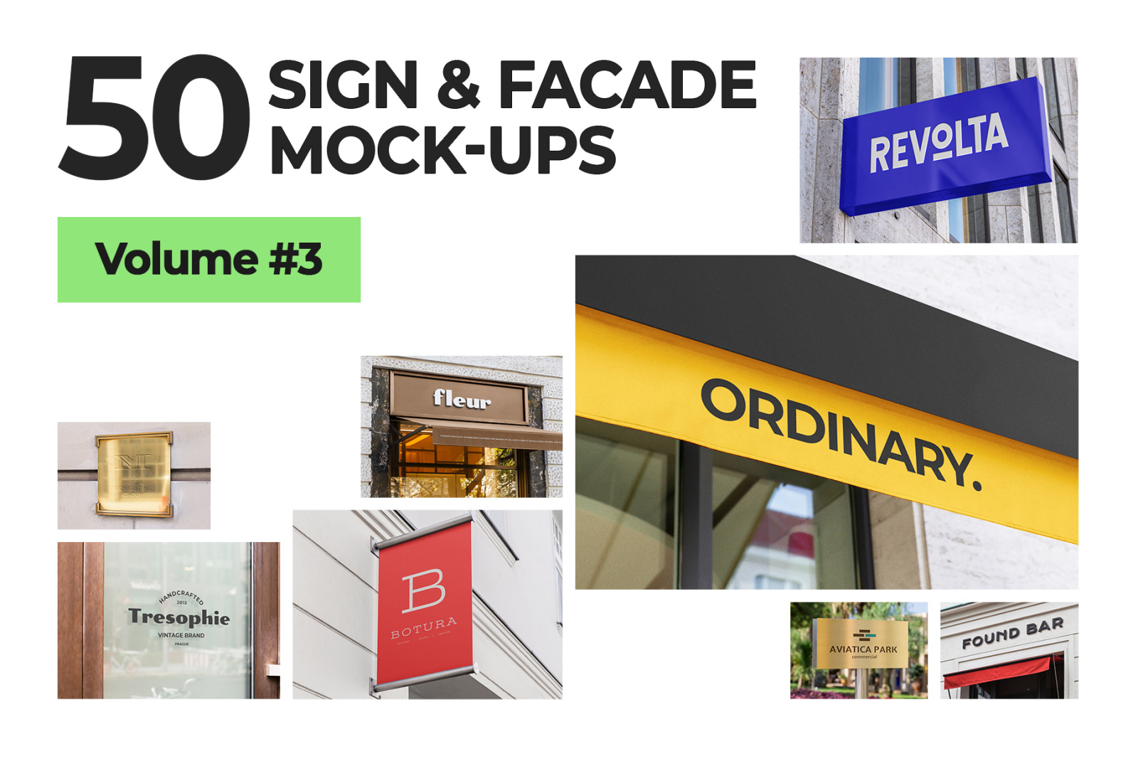 50 sign facade logo mockup template bundle 3