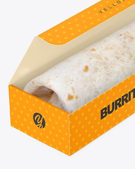 Paper Box with Burrito Mockup
