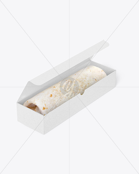 Kraft Box with Burrito Mockup