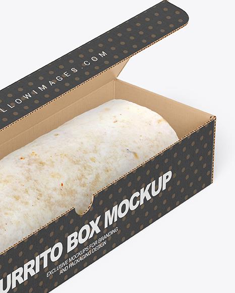 Cardboard Box with Burrito Mockup