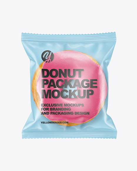 Clear Plastic Bag With Glazed Donut Mockup