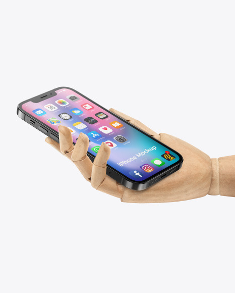 Apple iPhone 12 Pro Max in Wooden Hand Mockup