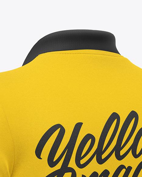 Polo Shirt Mockup - Back Half Side View