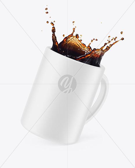 Ceramic Mug w/ Coffee Splash Mockup
