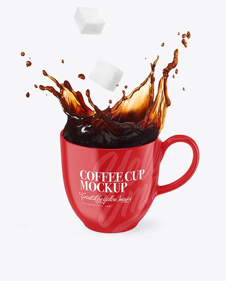Glossy Cup w/ Coffee Splash and Sugar Cubes Mockup