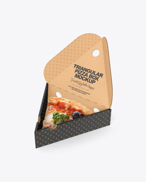 Cardboard Triangular Box with Pizza Mockup