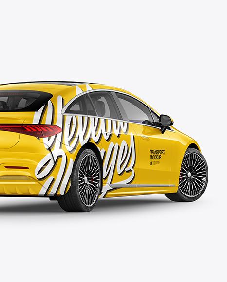 Electric Luxury Car Mockup - Back Half Side View