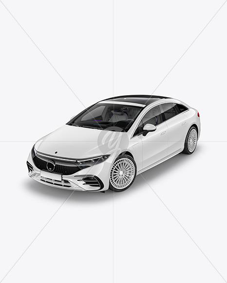 Electric Luxury Car Mockup - Half Side View (High-Angle Shot)