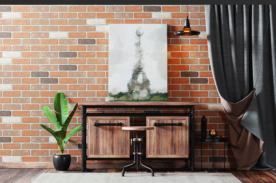 Canvas Frame In Interior Mockup
