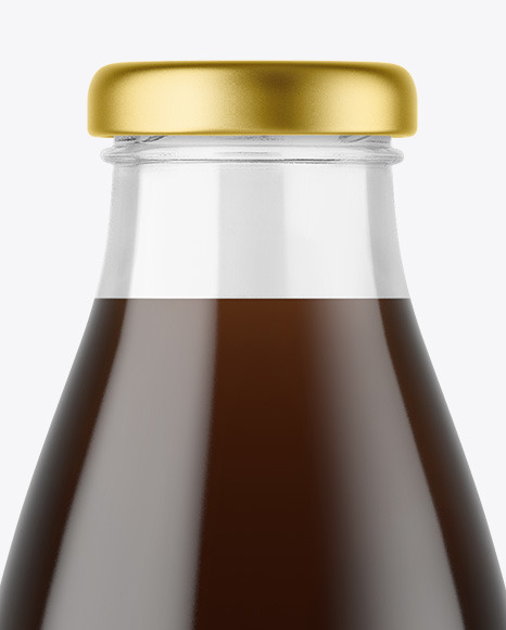 Clear Glass Bottle with Cold Brew Coffee Mockup